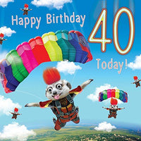 40th Birthday Card Skydiving Meerkats - Fluff & 3D Goggly Eyes