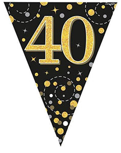 Sparkling Fizz Black & Gold 40th Birthday Flag Bunting