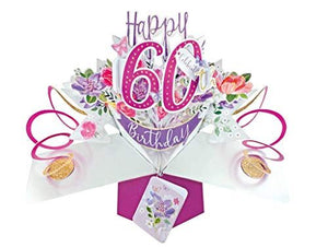 Second Nature Female 60th Birthday Pop Up Card with Flowers