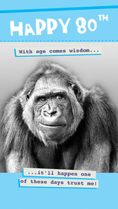 Fun 80th Birthday Card - Male - Gorilla - 9 x 5 Inches