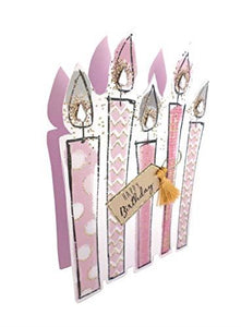 Paper Dazzle Sparkle Dust Candles 3D Birthday Greeting Card Glitter Finished PDZ010