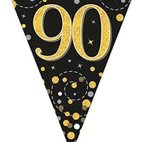 Sparkling Fizz Black & Gold 90th Birthday Flag Bunting