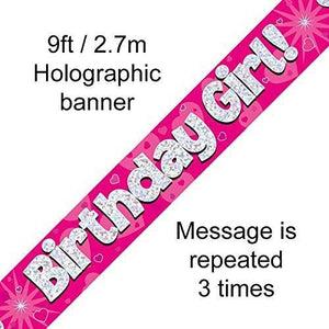""" Birthday Girl Foil Holographic Banner, Pink 9 ft"