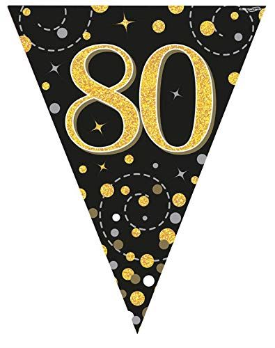 Sparkling Fizz Black & Gold 80th Birthday Flag Bunting