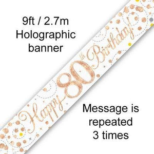 Sparkling Rosegold 80th 9ft Banner