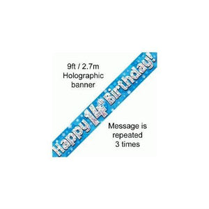 9ft Blue & Silver Stars Holographic Happy 14th Birthday Banner