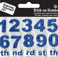 Numbers 0-9 Blue DIY Greeting Card Toppers