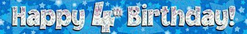 9ft Blue & Silver Stars Holographic Happy 4th Birthday Banner