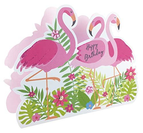 Paper Dazzle Happy Birthday Flamingos 3D Birthday Greeting Card Glitter Finished PDZ005