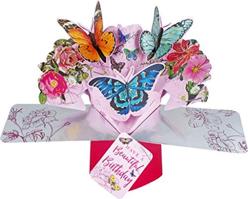 Pop Up Card with 'Beautiful Birthday' Lettering & Butterflies