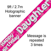 """Happy Birthday Daughter"" Foil Holographic Banner, Pink 9ft"