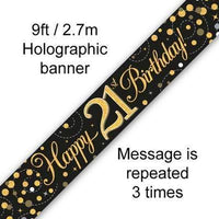 9ft Banner Sparkling Fizz 21st Birthday Black & Gold Holographic