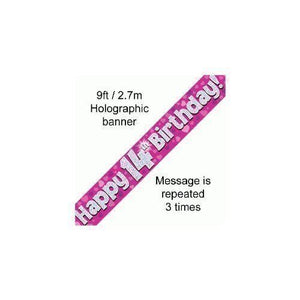 """ Happy 14th Birthday Foil Holographic Banner, Pink 9 ft"