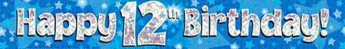 9ft Blue & Silver Stars Holographic Happy 12th Birthday Banner