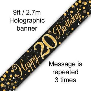 9ft Banner Sparkling Fizz 20th Birthday Black & Gold Holographic