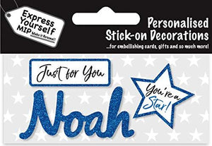 self adhesive Blue Male Name 'Noah' Sticker