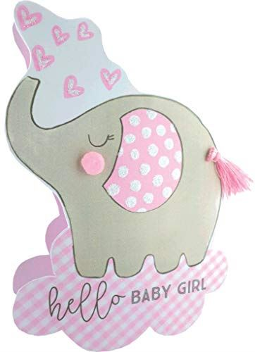 Paper Dazzle Birth New Baby Girl 3D Congratulations Greeting Card Glittered PDZ032