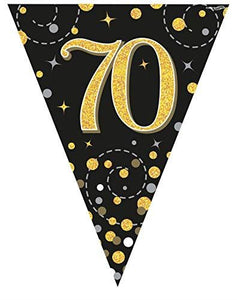 Sparkling Fizz Black & Gold 70th Birthday Flag Bunting