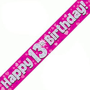 """ Happy 13th Birthday Foil Holographic Banner, Pink 9 ft"