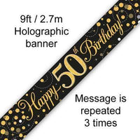 OakTree 625570 9 ft. Banner Sparkling Fizz 50th Birthday Black and Gold Holographic