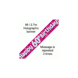 """ Happy 60th Birthday Foil Holographic Banner, Pink 9 ft"