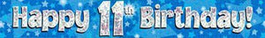 9ft Blue & Silver Stars Holographic Happy 11th Birthday Banner