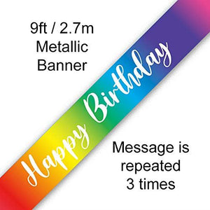 Rainbow Happy Birthday 9ft Banner