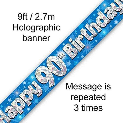 9ft Blue & Silver Stars Holographic Happy 90th Birthday Banner