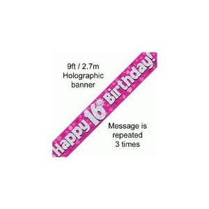 Happy 16th Birthday Foil Holographic Banner, Pink 9 ft