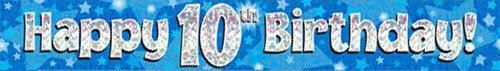 9ft Blue & Silver Stars Holographic Happy 10th Birthday Banner