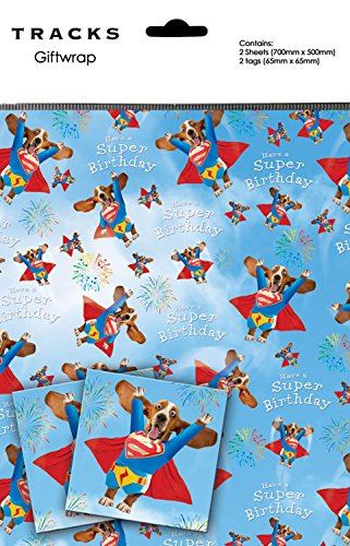Basset Hound Gift Wrap Superdog Take Off - 2 Sheets + 2 Tags