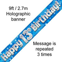 9ft Blue & Silver Stars Holographic Happy 13th Birthday Banner