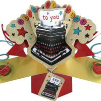 Second Nature Happy Birthday To You with Typewriter Pop Up Greeting Card
