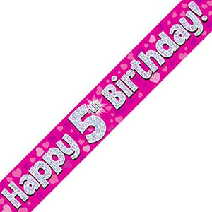 """ Happy 5th Birthday Foil Holographic Banner, Pink 9 ft"
