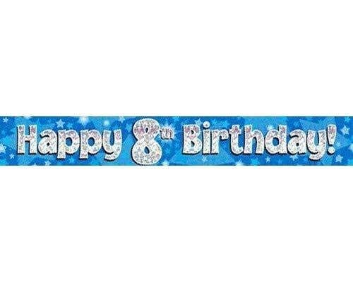 9ft Blue & Silver Stars Holographic Happy 8th Birthday Banner