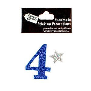 self adhesive, Blue number 4, Topper 8cm