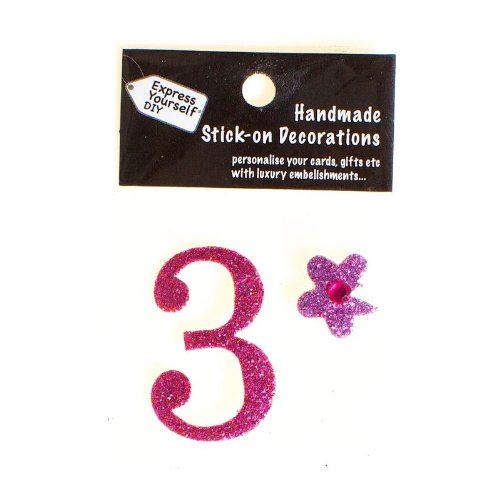 self adhesive, Pink number 3, Topper