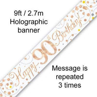 Sparkling Rosegold 90th 9ft Banner