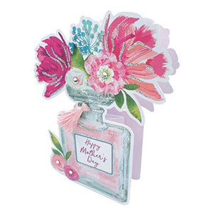 Paper Dazzle Perfume Happy Mother's Day 3D Greeting Card Glitter Finished MPDZ004