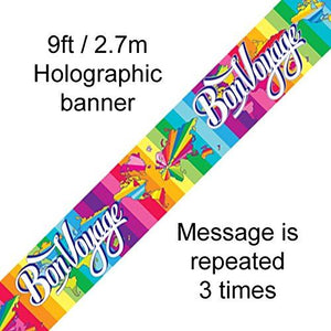 Bon Voyage Foil Party Banner 2.7m Long Holographic Brightly Coloured