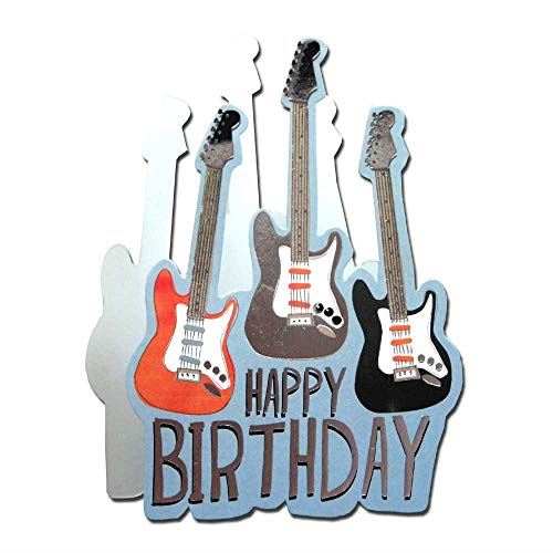 Paper Dazzle Guitar Happy Birthday 3D Birthday Greeting Card Glitter Finished PDZ030