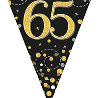 Sparkling Fizz Black & Gold 65th Birthday Flag Bunting