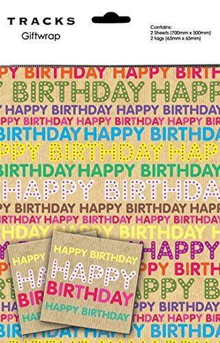 Happy Birthday Lettering Gift Wrapping Paper 2 Sheets + 2 Matching Tags