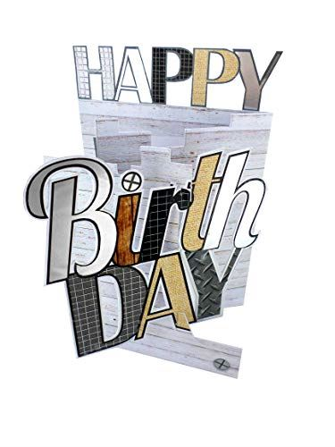 Cutting Edge Happy Birthday Male 3D Cutting Edge Birthday Card Foiled Greeting Cards DCE011