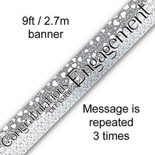 9ft Congratulation on your Engagement Banner for Celebration Entiwed Hearts