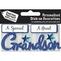 self adhesive, Grandson (Blue) Caption Topper