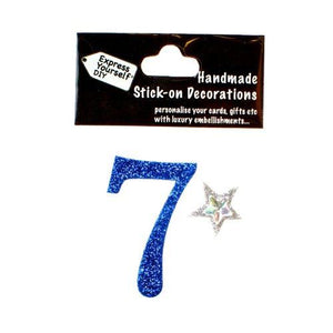 self adhesive, Blue number 7, Topper 8cm