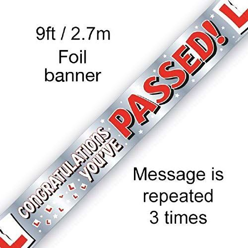 Congratulations You've Passed! Driving Test 9ft Fail Banner