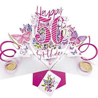 Second Nature Female 50th Birthday Pop Up Card with Butterflies