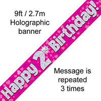 """ Happy 2nd Birthday Foil Holographic Banner, Pink 9 ft"